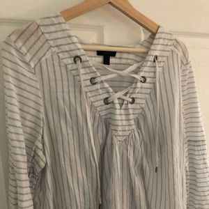 J.Crew lace-up cotton top in stripe, Size Large